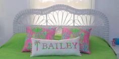 New NAME pillow made with Lilly Pulitzer Palm Tree by jlmyakima, $40.00 (You Gotta Regatta fabric) Pool House Decor, Lilly Pulitzer Fabric, Pink Punch, Cool Patches, Pink Sand, New Names, Nursery Inspiration, Different Fabrics, Decorative Throw Pillows