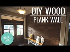 Sometimes, all it takes is adding an accent to one wall in a room to change the entire mood of your house. A wood plank wall could be just the accent you& loo… Interior Wood Plank Walls, Rustic Wood Walls, Wooden Walls, Diy Pallet Wall, Diy Wood Wall, Vinyl Wood Planks, Wooden Wall Design, Stick On Wood Wall, White Shiplap Wall