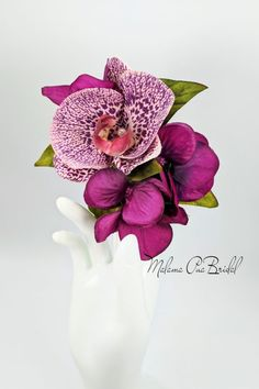 Real Touch Leopard Orchid with hand wired Swarovski Pearl center. Completed with silk Hydrangea and tropical greenery. Bridal Hair Flowers, Flower Headpiece, Silk Flowers, Fascinator, Silk Hydrangea, Wedding Accessories, Hair Accessories, Flowers For You, Shades Of Purple