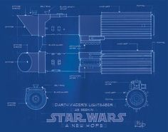 HAND DRAFTED 1:1 sclae blue print of Darth Vaders Lightsaber as seen in Star Wars Episode IV A New Hope. This piece was HAND DRAFTED at full size