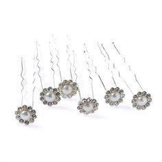 Lot de 6 épingles à cheveux en perles et strass
