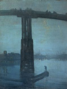 "Whistler's ""Nocturnes"" kill me in a great way.  Artist: James Abbott McNeill Whistler (1834‑1903)  Title Nocturne: Blue and Gold - Old Battersea Bridge  circa 1872-5  Oil on canvas  Dimensions  support: 683 x 512 mm frame: 922 x 760 x 83 mm  Collection: Tate"