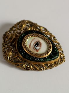 Victorian Mourning Brooch - Irish Lover's Eye - by mabgraves