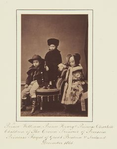 Attributed to Hills & Saunders - Prince William, Prince Henry, and Princess Charlotte of Prussia, 1865 [in Portraits of Royal Children Queen Victoria Family, Princess Victoria, Prince Henry, Prince William, German Royal Family, Prussia, Crown Royal, Royal House, Princess Charlotte