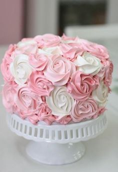 White and pink rose cake Cute Birthday Cakes, Beautiful Birthday Cakes, Amazing Wedding Cakes, Beautiful Cakes, Gateau Baby Shower, Baby Shower Cakes, Birthday Cake For Women Simple, Bolo Barbie, Rosette Cake