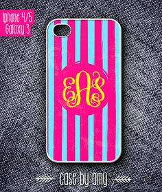 Monogramm Stripe iPhone 4/4s, iPhone 5, Samsung Galaxy S3 Monogram case  - Accessories for iPhone - iPhone Galaxy Case - $16.80  at http://casebyamy.etsy.com