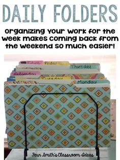 Organizing your students' work for the week in advance makes a teacher's life easier! #FernSmithsClassroomIdeas