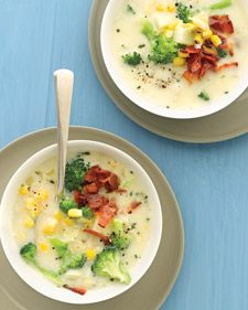 Broccoli Chowder with Corn and Bacon - can add instant mashed or nuke an extra potato and mash... to add and make soup a little thicker.  I like this recipe because there's not the extra calories of added cheese or sour cream.