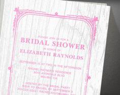 Pink White Rustic Barn Wood Bridal Shower Invitation