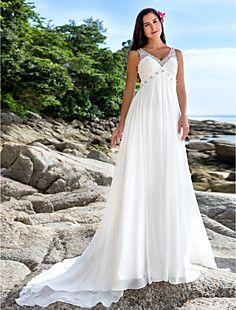 v-cuello capilla de tren vestido de novia de gasa una línea