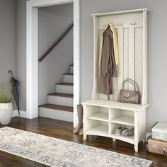 Salinas Hall Tree with Storage Bench in Antique White