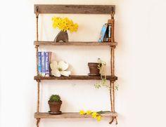 Hanging Rope Shelves  3 Shelf  Barn wood by GrindstoneDesign