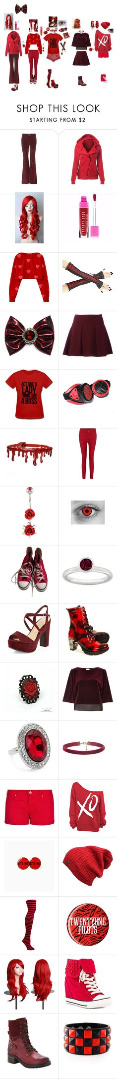 """""""Red outfit event"""" by oh0601 ❤ liked on Polyvore featuring M.i.h Jeans, Killstar, Converse, New Look, River Island, Jon Richard, MANGO, xO Design, Rock & Candy and taos Footwear"""
