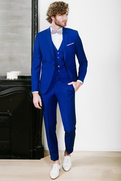johann costume mariage bleu roi avec gilet en 2019. Black Bedroom Furniture Sets. Home Design Ideas