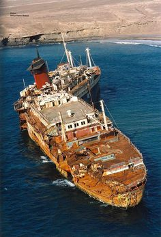 The broken, and rapidly disintegrating, wreck of the SS American Star, the former SS America of the United States Line, beached off the coast of Fuerteventura, the Canary Islands. Image courtesy Patrick G.