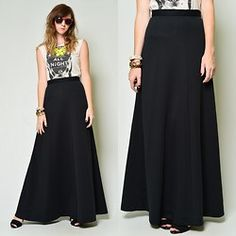 The Kissing Tree Vintage 70s Black Maxi Skirt