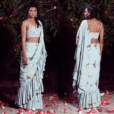 Trending: Ruffled Saree Ideas for Weddings 2019 - ShaadiWish Bridal Wardrobe, Indian Bridal Sarees, Saree Trends, Sari Dress, Simple Sarees, Chiffon Ruffle, Ruffles, Blue Saree, Saree Styles