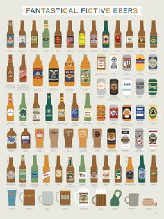 Fictional Beer Poster - Fantastical Fictive Fictional Beers X By Pop Chart Lab: Posters & Prints Beer Brewing, Home Brewing, Beer Infographic, Infographics, Martinis, More Beer, Beer Poster, Poster Wall, Beer Brands