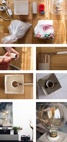 DIY Concrete Lamp - Creative Photography Tips and Photo Hacks- DIY Beton Lampe – Kreative Fotografie Tipps und Foto Hacks DIY concrete lamp instructions - Upcycled Crafts, Easy Diy Crafts, Repurposed, Concrete Crafts, Concrete Lamp, Gift For Architect, Diy Lampe, Diy Y Manualidades, Beton Diy