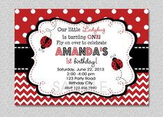 ladybug invitation | Ladybug Birthday Invitation Ladybug Birthday Party Invitation ...