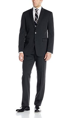 Calvin Klein Men's Tech Suit 2 Button Side Vent Peak Lapel X-Slim Fit, Black, 46/Long Best Price