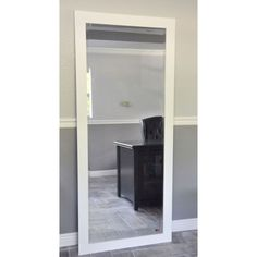 American Made Rayne 30.5 x 71-inch White Satin Wide Extra Tall Floor/ Vanity Mirror (30.5 x 71)