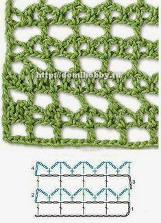 Crochet Edging Patterns, Crochet Motifs, Crochet Diagram, Tunisian Crochet, Stitch Patterns, Knitting Patterns, Crotchet Stitches, Crochet Needles, Crochet Coat