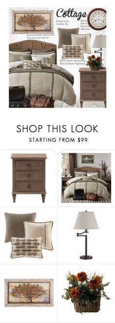 """Cottage Bedroom"" by beebeely-look ❤ liked on Polyvore featuring interior, interiors, interior design, home, home decor, interior decorating, Baxton Studio, Stila, Bulova and bedroom"