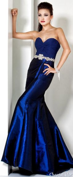Beautiful Blue Strapless Gown by JOVANI