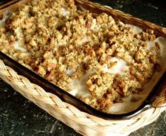 One-Dish Chicken Bake Recipe - my mom used to make this for us as kids, one of my favorite comfort foods! Easy too, just stuffing, chicken, can of soup and sour cream. She used to serve it with roasted potatoes.