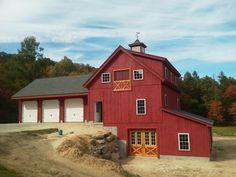 All in one - Garage/Workshop/Barn Building Exterior, Building A House, Pole Barn Plans, Barn Builders, Garage Workshop Organization, Bank Barn, Beam Structure, Wayne Manor, Small Log Cabin