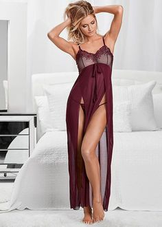 Venus Women's Lace Detail Gown And Panty Sexy Lingerie - Purple/red, Size XL