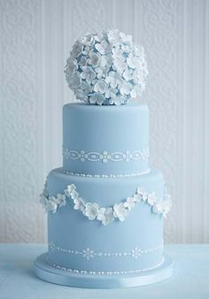 Wedgewood Flower Ball Wedding Cake | Blue Cakes, Cakes with Flowers, Wedding Cakes | Beautiful Cake Pictures