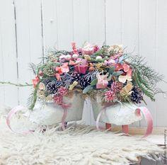 Купить Зимняя композиция - бледно-розовый, зимний интерьер, подарок на новый год, корпоративный подарок