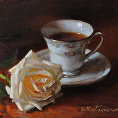 "*""Tea and Rose"" - Original Fine Art for Sale - © Elena Katsyura*"