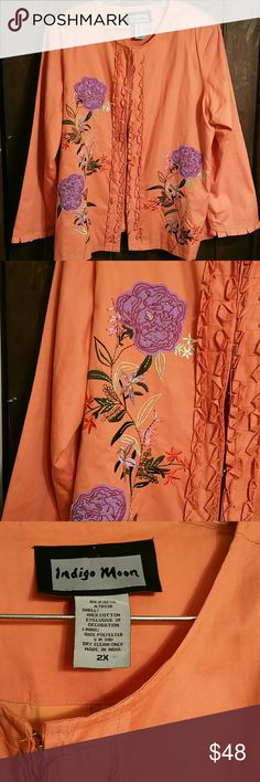 STUNNING PEACH JKT.W/EMBROIDERY&BUGLE BEADS ALL COTTON, Ruffle down front, Gorgeous Embroidery,  Pleats at Cuffs. Bought for a Friend. Never Worn! NWOT ~ Jackets & Coats