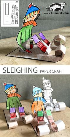 SLEIGHING PAPER CRAFT Winter Art Projects, Winter Crafts For Kids, Winter Fun, Winter Theme, Preschool Crafts, Preschool Activities, Children Activities, Easy Paper Crafts, Fun Crafts