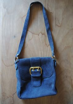 Vintage Leather Purse// Navy Blue Suede Bag by altastyles on Etsy, $25.00