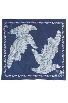 The graphic design of this bandana is manually printed following authentic batik technique. Using hot wax the artisan applies the artwork directly on the fabric to resist dye. After multiply dipped in natural indigo the bandana is boiled in hot water to remove the hot wax and the artwork appears on the bandana. Due to the manual printing and indigo dyeing process, imperfection occurs on the printed artwork that marks the unique appearance of each single item. Product Description: 50x50cm…