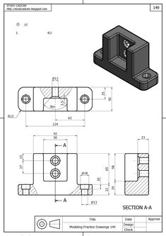 Mechanical Engineering Design, Mechanical Design, Engineering Works, Drawing Practice, Drawing Skills, Isometric Drawing Exercises, Orthographic Drawing, 3d Drawing Techniques, Solidworks Tutorial