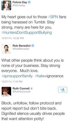 I absolutely love how much the SPN cast has reached out to their fans struggling with the unwarranted hatred