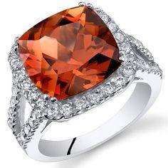 SilverJewelryClub.com - Cushion Cut 7.50 Carat Padparadscha Sapphire Sterling Silver Ring