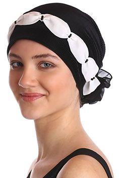 Plissée et perlée Détail Chapellerie pour la perte de cheveux (Noir Crème)  Cubrir 54a7802031a