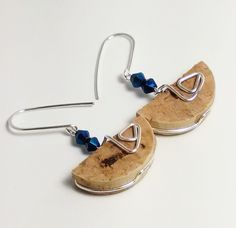 Blue Iridescent Glass Beaded Upcycled Wine Cork Earrings, One of a Kind Sterling Silver Wire Wrapped Earrings, Unique Cork Jewelry by JujusNature on Etsy
