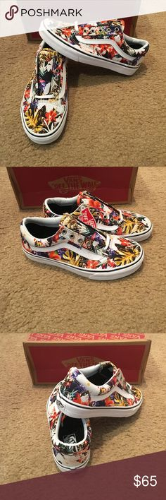 Old Skool Cuban Floral Vans New in box. Black/true white Vans Shoes Sneakers