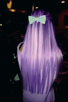 violet hair with light blue bow....I like it minus the bow... I would do the but a darker purple