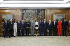 Don Felipe y Doña Letizia con los miembros del Patronato de la Fundación ADECCO, con motivo del 15º aniversario de su constitución. Palacio de La Zarzuela. Madrid, 02.09.2015