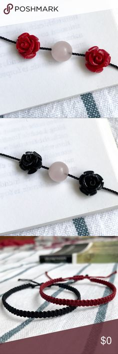 Red Rose Quartz & Black Nylon Bracelet Bundle for 10% off + FREE Bracelet  •Material: Black string in a square-knot macrame style featuring a rose quartz with 2 red rose charms.  •ⓢⓘⓩⓔ: Adjustable knot! (Fits 5 in. to 8.5 in. around wrist)  •Coachella/rock/edc/raves/Friendship/Weaved/Gypsy/Bohemian/Rocker/Rockabilly/pinup/Psychobilly/50s/Fifties/Gothic/Goth/Dark/Victorian/Halloween/Christmas/gift/wicca/natural Handmade by me! Jewelry Bracelets