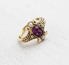 Vintage Faux Amethyst & Pearl Ring - Retro 1970s Gold Tone Signed Avon Purple Stone Victorian Revival Costume Jewelry / Queensbury 1974, $18.00