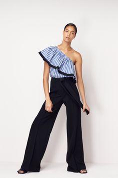 Black Trapunto Trouser | Blue One-Shoulder | MILLY Resort '17
